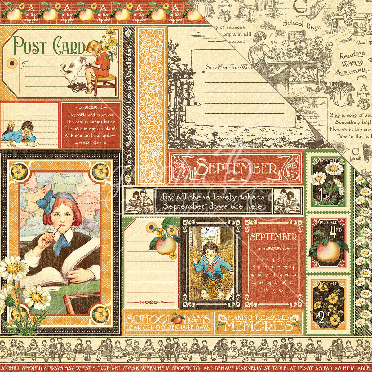 """Children's Hour Double-Sided Cardstock 12""""X12""""-September Collective"""