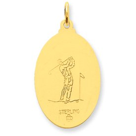 24K Gold Plated Sterling Silver Saint Christopher Golf Pendant   2 5 Grams