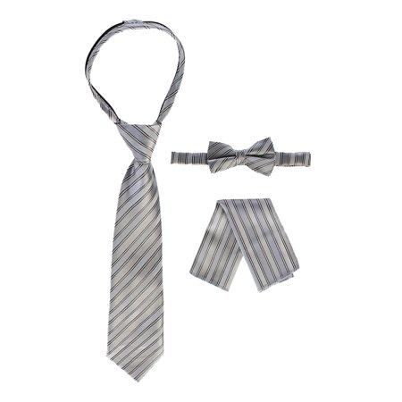 Gioberti Boy's Striped Zippered Tie, Bow Tie, and Handkerchief Set ()