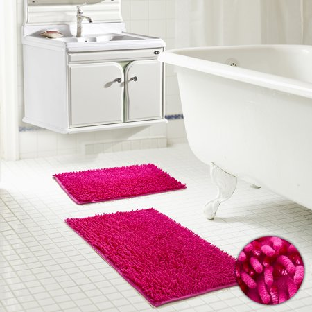 Chenille Noodle Bath Mat Set Sparkle Glitter Thread (Lurex) - Burgundy Rug & Mat