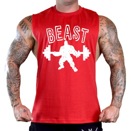 Men's Grunge Muscle Beast Sleeveless Red T-Shirt Gym Tank Top Large