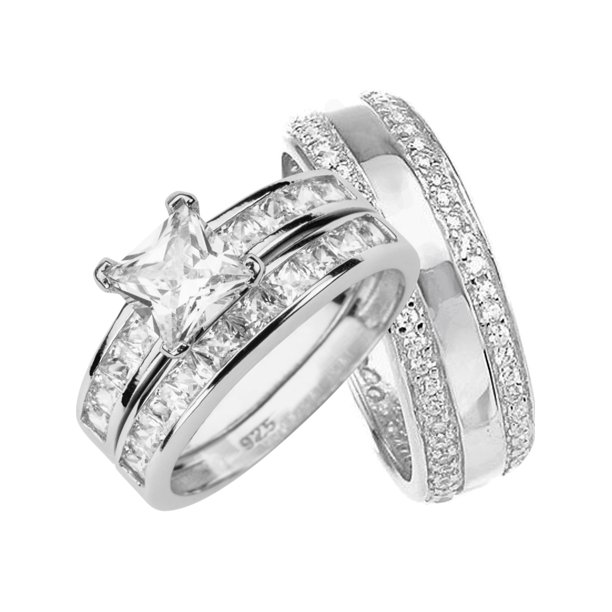 His and Hers Wedding Rings Set Sterling Silver Bands for Him Her