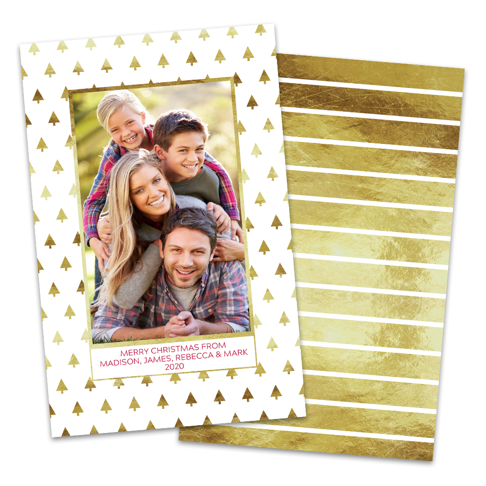 Personalized Gold Trees Photo Christmas Card