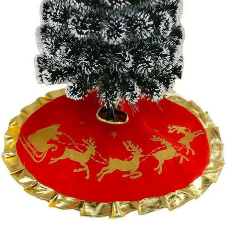 Red Christmas Tree Skirt with Golden Ruffle Edge New Year Holiday Xmas Decor ()