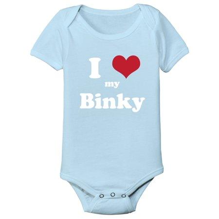 I Love (heart) Binky  Infant Baby Blue One Piece Cool Funny Love - Blinkies Lights