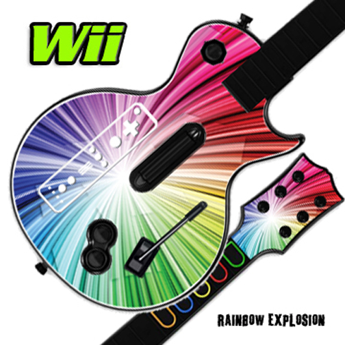 Mightyskins Skin Decal Cover for GUITAR HERO 3 III Nintendo Wii Les Paul - Rainbow Explosion