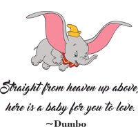 Straight From Heaven Dumbo Flying Customized Wall Decal - Custom Vinyl Wall Art - Personalized Name - Baby Girls Boys Kids Bedroom Wall Decal Room Decor Wall Stickers Decoration Size (40x40 inch)