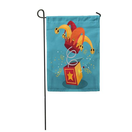 KDAGR Jack in The Box Confetti Jester Hat and Laughing Garden Flag Decorative Flag House Banner 12x18 inch - Jester Jack In The Box
