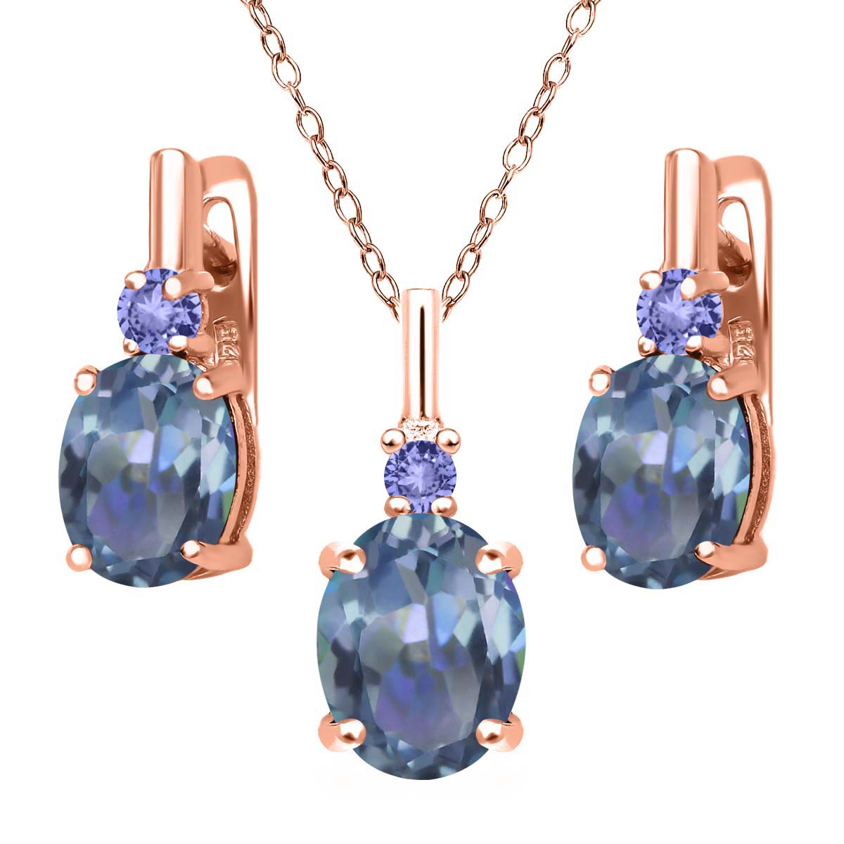 6.98 Ct Cassiopeia Mystic Topaz Blue Tanzanite 18K Rose Gold Plated Silver Pendant Earrings Set by