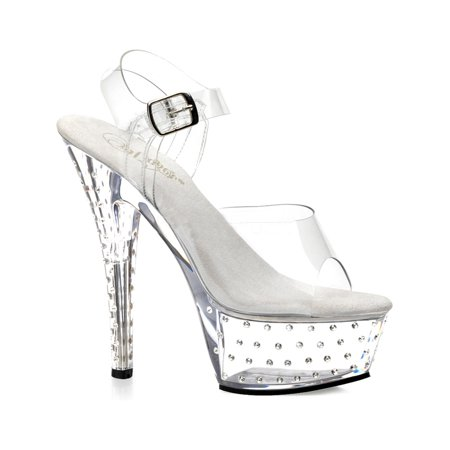 7d04de4967f Womens Clear Sandals 6 Inch Heels Rhinestone Stud Platform Heel Clar Straps