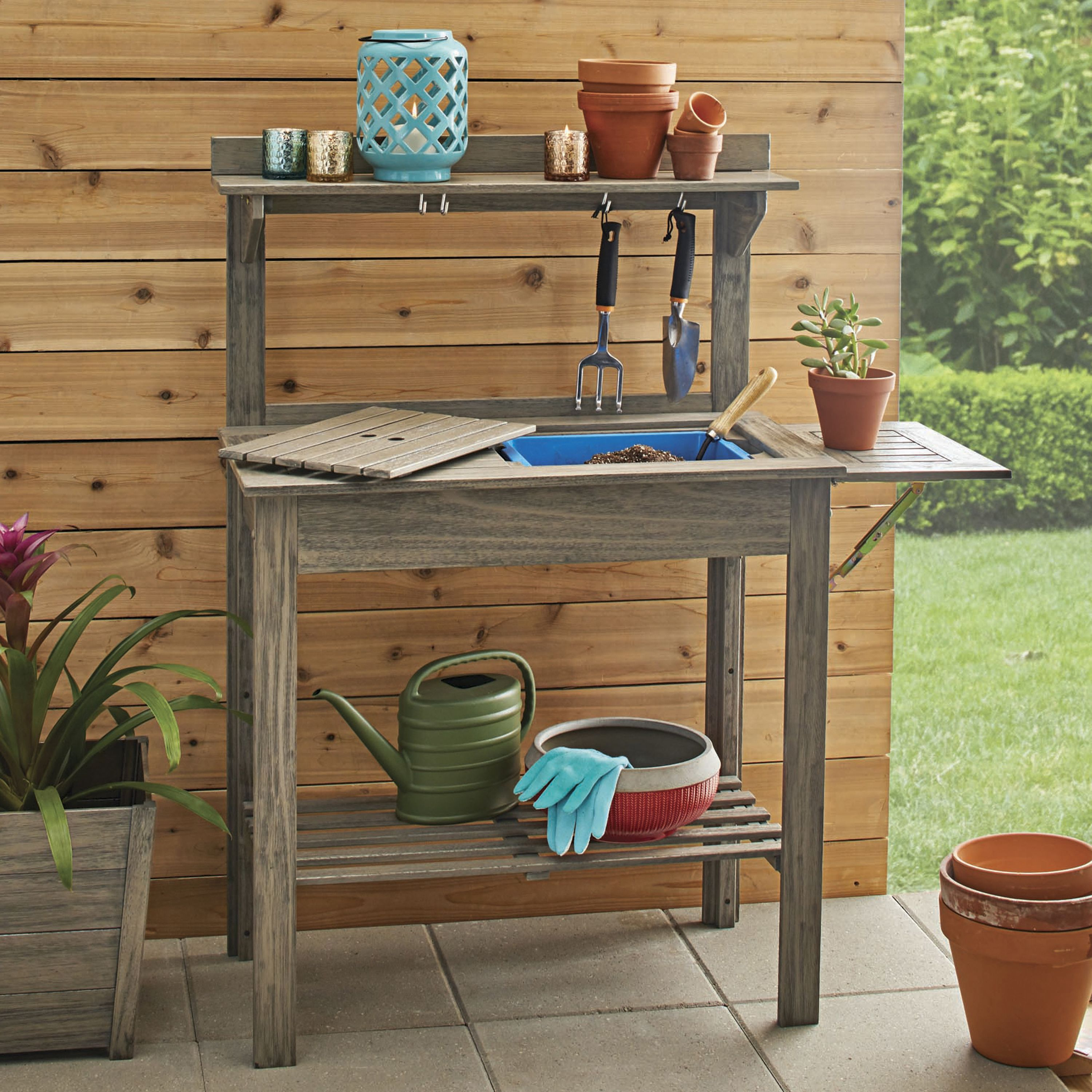 Garden Potting Bench: Better Homes & Gardens Cane Bay Outdoor Potting Bench
