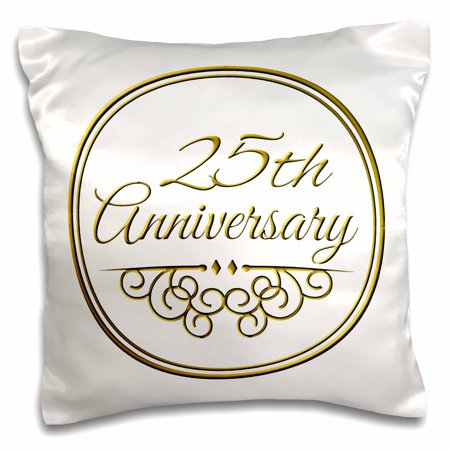 3dRose 25th Anniversary gift - gold text for celebrating wedding anniversaries - 25 years married together - Pillow Case, 16 by