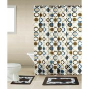 15pc BROWN SAMI Bathroom Set Printed Banded Rubber Backing Rug Bath Mats With Fabric Shower Curtain & Hooks New Designs