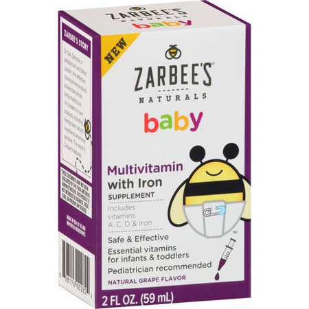 Zarbee's Naturals Baby Multivitamin with Iron Supplement Liquid, 2 fl