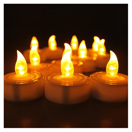 AGPtek 100pcs Flameless LED Candle Battery Operated Flickering Flashing Amber Tea Light