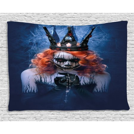 Queen Tapestry, Queen of Death Scary Body Art Halloween Evil Face Bizarre Make Up Zombie, Wall Hanging for Bedroom Living Room Dorm Decor, 60W X 40L Inches, Navy Blue Orange Black, by Ambesonne
