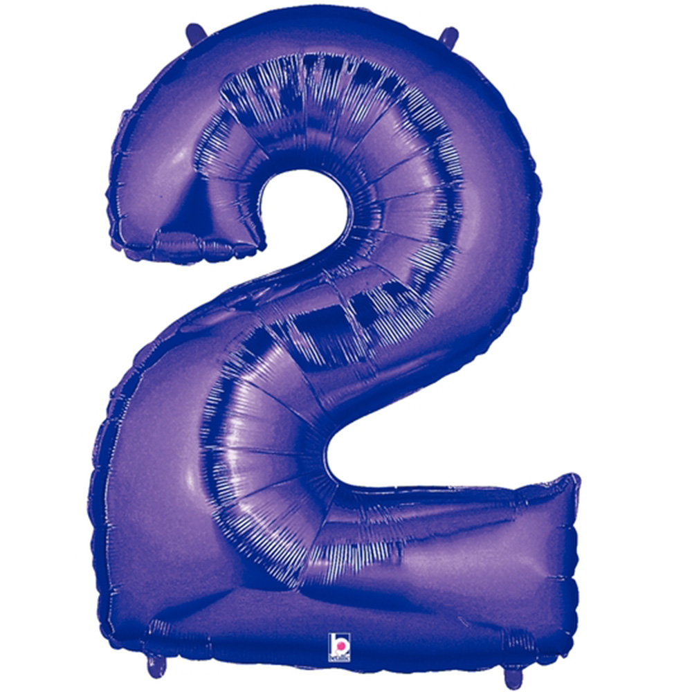 """Giant Purple Number 2 Foil Balloon 40"""""""
