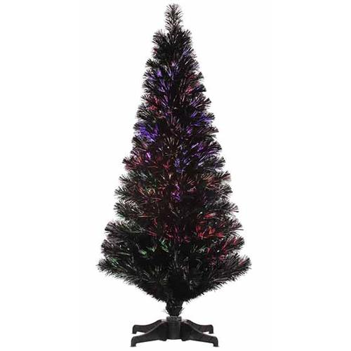 5 Pre Lit Jet Black Fiber Optic Artificial Christmas Tree Multi