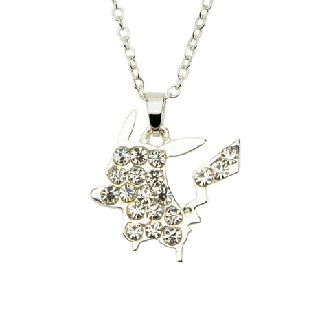 Pokemon Silver Plated Clear Gem Pikachu Pendant Stainless Steel Necklace