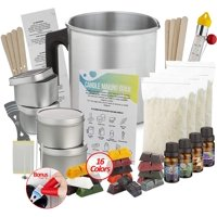 Complete DIY Candle Making Kit Supplies for Adults and Kids, Soy Wax Flakes, Wicks, Pitcher, Fragrance Oil, 16 Color Dyes