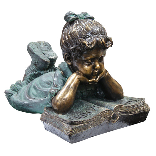 Woodland Imports Girl Laying Down Reading Book Statue