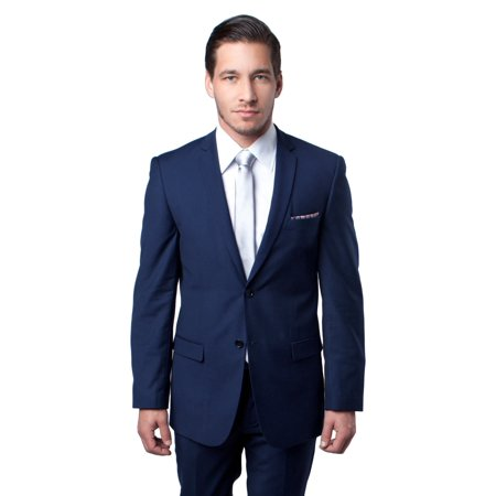 Mens Suit Two Piece Slim Fit Solid Notch Lapel Tuxedo Set - Blue Tuxedo