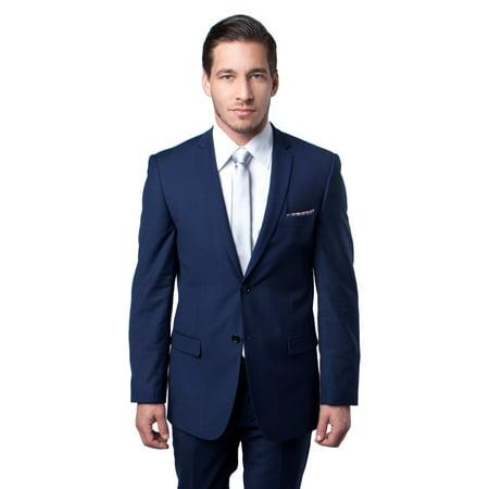 Mens Suit Two Piece Slim Fit Solid Notch Lapel Tuxedo Set