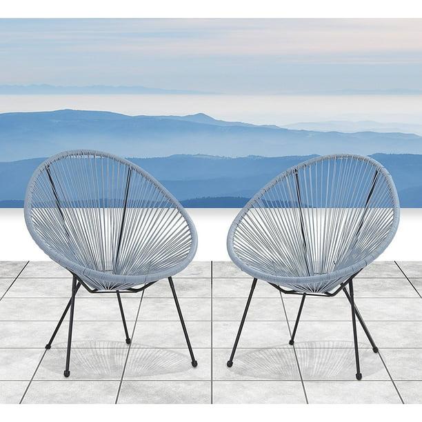 All Weather Wicker Indoor Outdoor Round Lounge Chair Set Of 2 Patio Chair Blue Grey Walmart Com Walmart Com