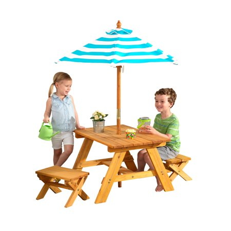 Incredible Kidkraft Wooden Outdoor Table Bench Set With Striped Umbrella Childrens Furniture Turquoise White Andrewgaddart Wooden Chair Designs For Living Room Andrewgaddartcom