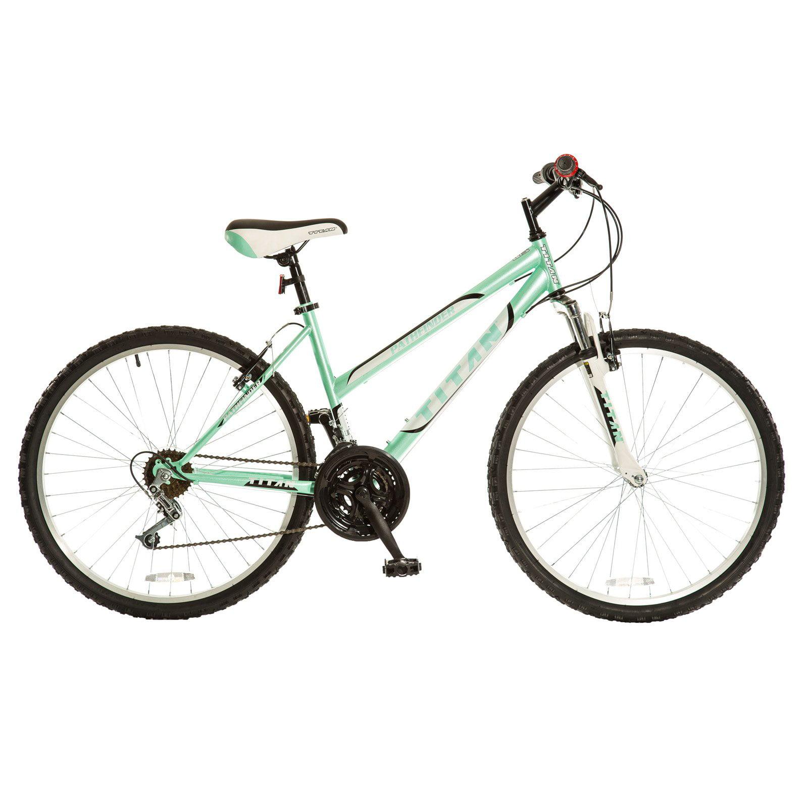 TITAN Pathfinder 18-Speed Women's Suspension Mountain Bike, Mint Green