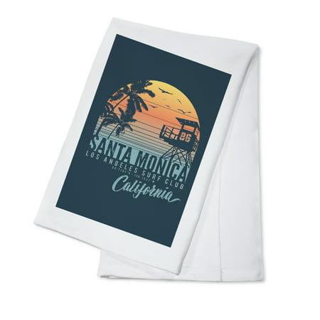- Santa Monica, California - Sunset Stripes - Palm & Lifeguard Booth - Lantern Press Artwork (100% Cotton Kitchen Towel)