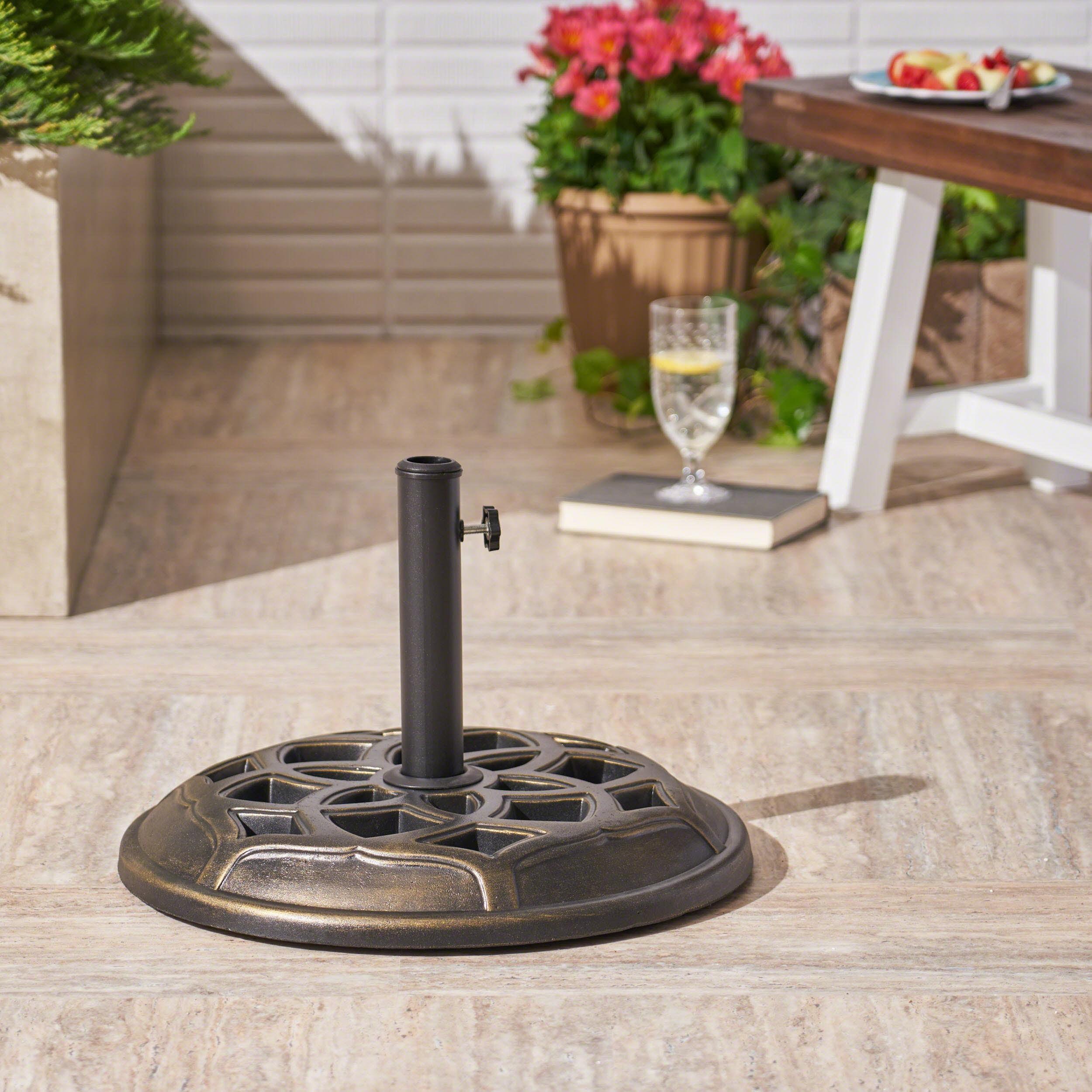 Outdoor 44lb Concrete Circular Umbrella Base, Bronze