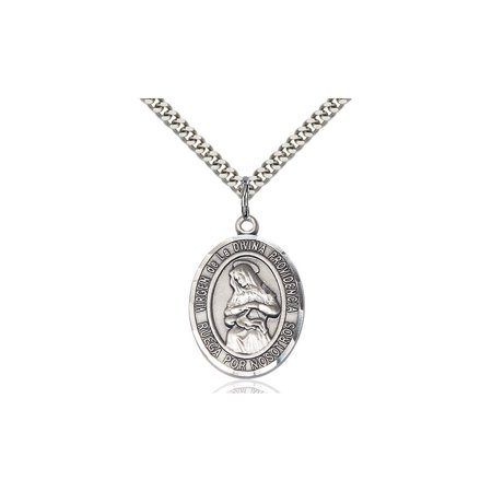 Sterling Silver Virgen De La Divina Medal Pendant 1 X 3 4 Our Lady Miraculous Immaculate Conception Virgin Mary On A 24 Inch Stainless Silver Curb Chain Necklace Gift Boxed