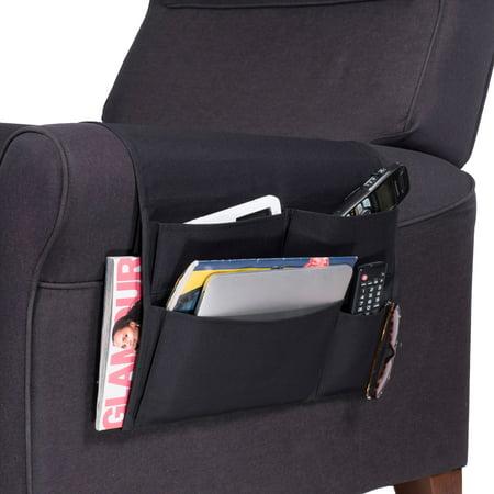 WALLNITURE Armrest Remote Control Organizer with 5 Pockets Canvas Black 16 Inch Wide ()