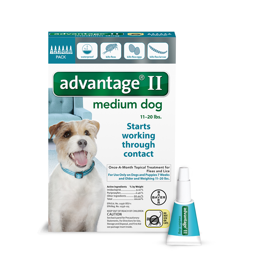 Advantage II Topical Flea Treatment for Medium Dogs, 6 Monthly Treatments