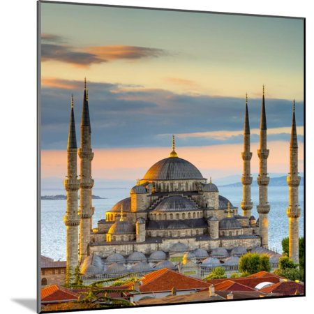 Turkey, Istanbul, Sultanahmet, the Blue Mosque (Sultan Ahmed Mosque or Sultan Ahmet Camii) Wood Mounted Print Wall Art By Alan -