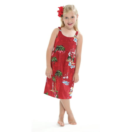 Hawaii Hangover Girl Elastic Strap Dress Christmas Dress Santa Red 5-6 - Cute Santa Dresses
