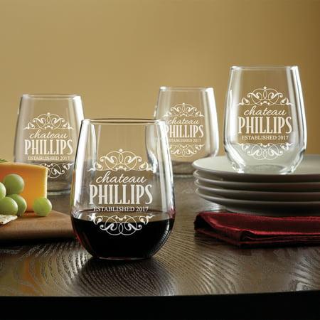 Personalized Decorative Label Stemless Wine Glasses, Set of 4 (Cheap Personalized Wine Glasses)