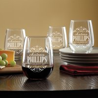 Personalized Decorative Label Stemless Wine Glasses, Set of 4