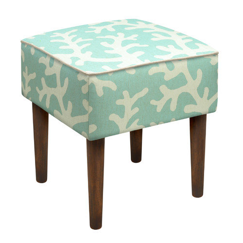 123 Creations Coastal Coral Upholstered Vanity Stool