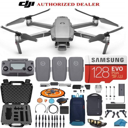 DJI Mavic 2 PRO Drone Quadcopter Fly More Combo with 3 Batteries, 128GB SD Card with Hasselblad Camera HDR Video Adjustable Aperture Bundle Kit with Must Have Accessories with Extra Hard Carrying