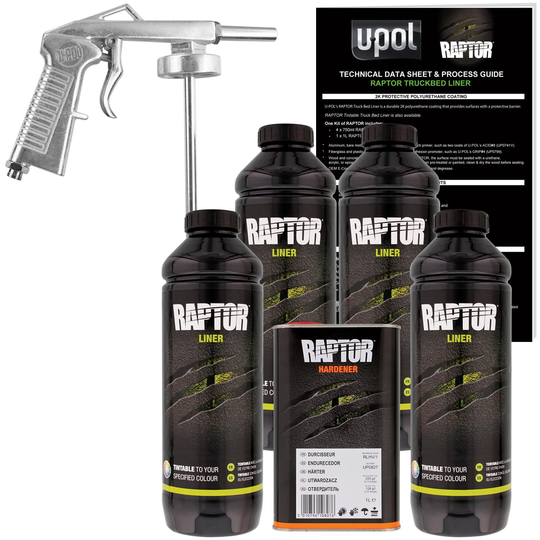 U-POL Raptor 821 Tintable Truck Bed Liner Kit w/ Spray Gun, 4L Upol