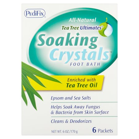 PediFix Tea Tree Ultimates Soaking Crystals Foot Bath, 6 count, 6 oz (Relaxing Foot Soak)
