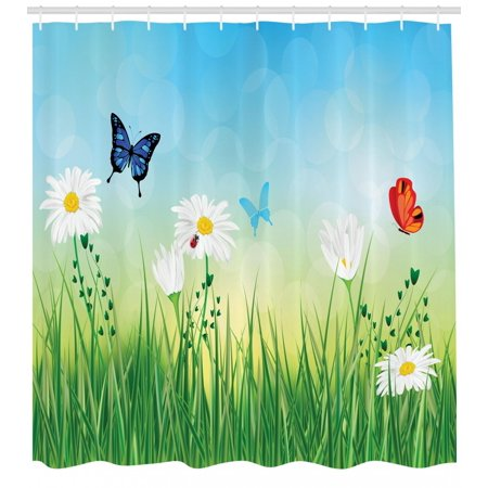Lenox Butterfly Meadow Tiger Swallowtail (Summer Shower Curtain, Meadow Illustration with Daisies Swallowtail Monarch Butterflies and Grass Pattern, Fabric Bathroom Set with Hooks, 69W X 70L Inches, Multicolor, by Ambesonne)