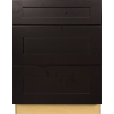 Everyday cabinets 36 inch dark espresso shaker 3 drawer for Kitchen cabinets 36 inch