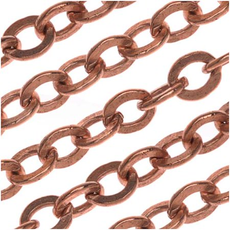Nunn Design Antiqued Copper Plated  Chain Flat Cable 4mm By The Ft (Satin Flat Cable Chain)