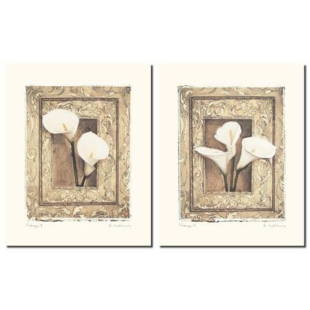 Firenze I Beautiful White Calla Set; Two 11x14 Poster Prints Callas Poster Print