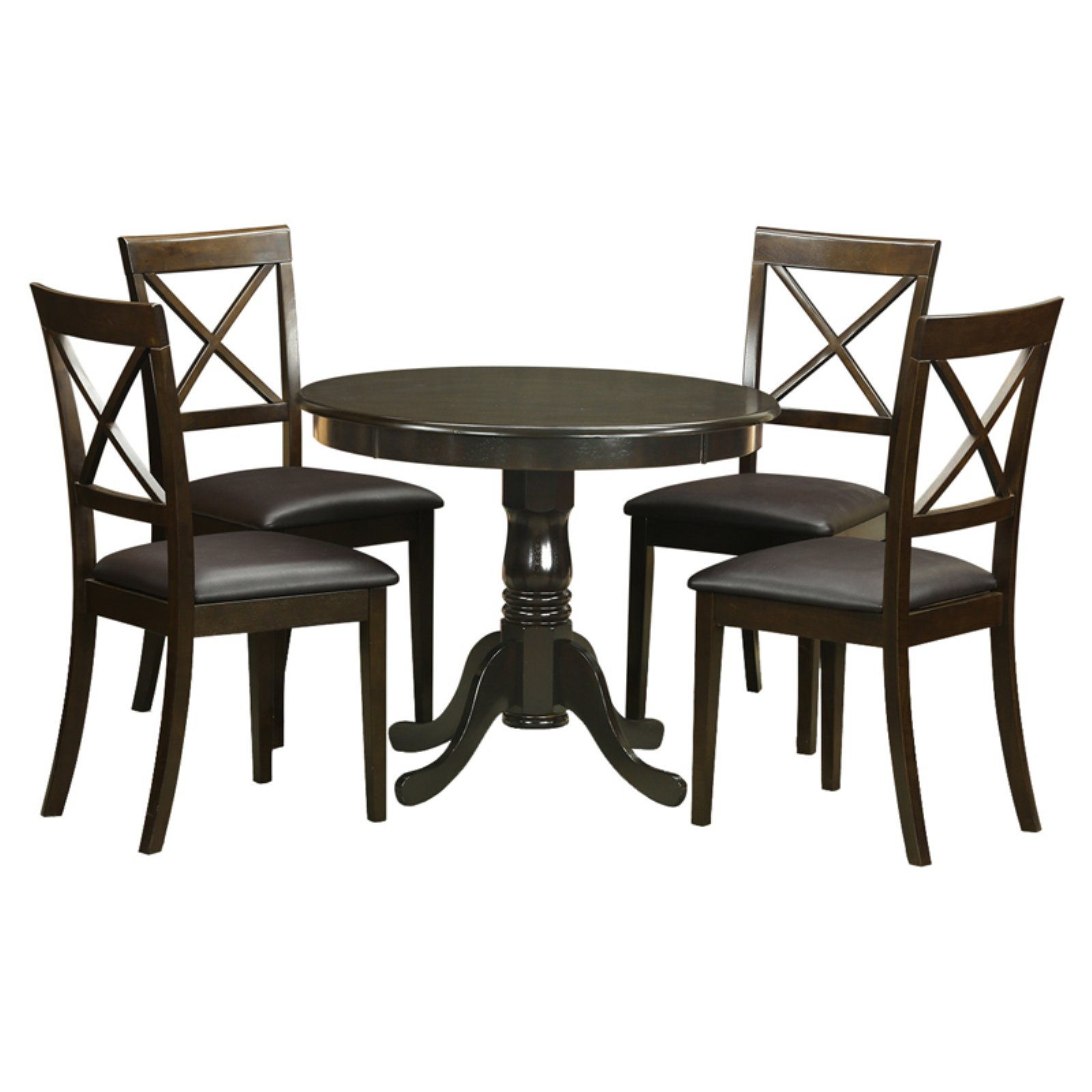 East West Furniture Antique 5 Piece Pedestal Round Dining Table Set with Boston Microfiber Seat Chairs