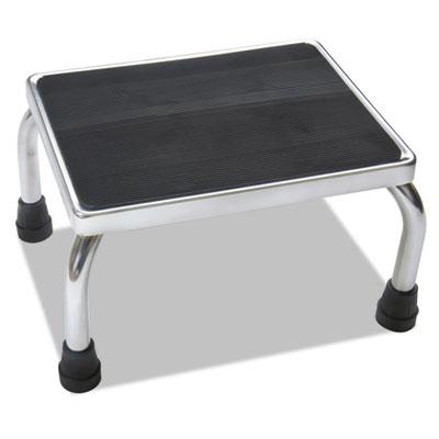 Foot Stool, 16w x 12d x 8 1/4h, Steel, Chrome/Black Mat, Sold as 1 Each