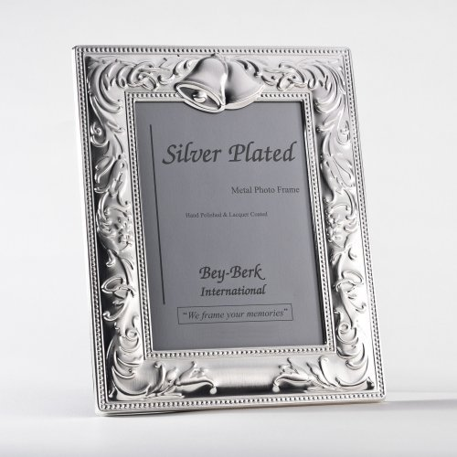 Bey-Berk Silver-Plated Wedding Bells 5 x 7 in. Photo Frame - Tarnish Proof